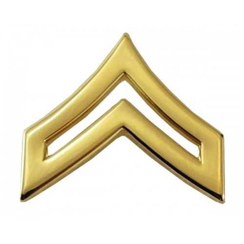 CPL CHEVRONS, ENAMELED & PLATED, 2 POSTS & CLUTCH BACKS, PAIRS