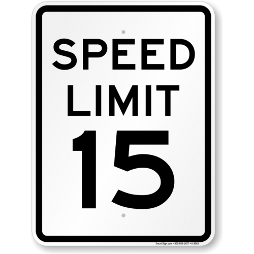 Speed Limit 15 MPH Sign