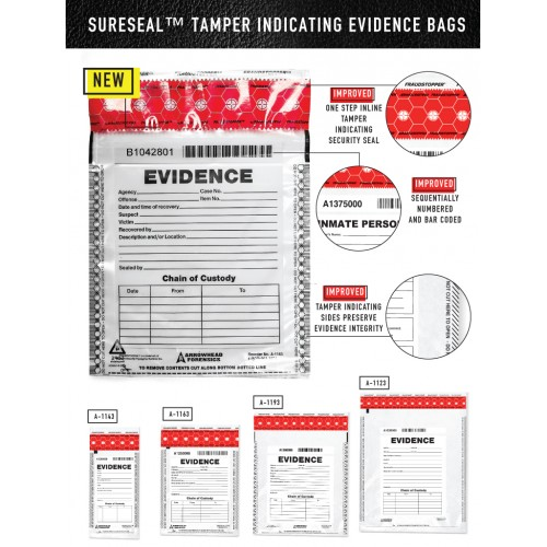 Arrowhead SureSeal™ Tamper Indicating Evidence Bags w/ Control Number